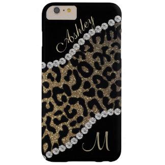 Monograma del diamante y del leopardo funda barely there iPhone 6 plus