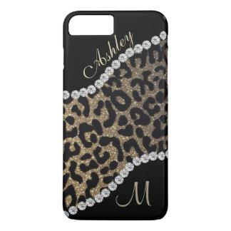 Monograma del diamante y del leopardo funda iPhone 7 plus