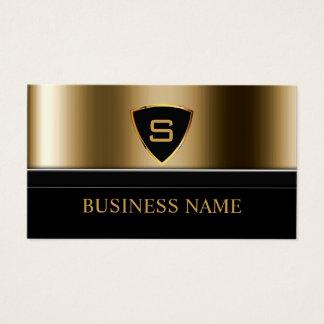 Monograma del escudo del oro del guardia de tarjeta de negocios