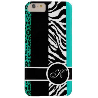 Monograma del estampado de animales del leopardo y funda barely there iPhone 6 plus