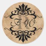 Monograma del Flourish de la voluta de Belice (mor Pegatinas Redondas