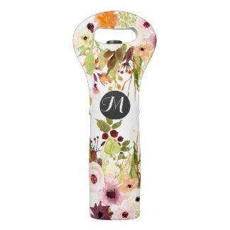 Monograma del jardín de flores del otoño bolsa para vino