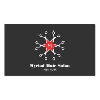 Monograma del negro del salón de pelo del tarjetas de visita