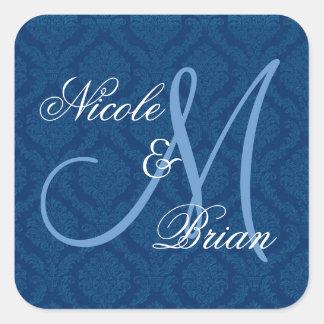 Monograma del novio de la novia del boda del pegatina cuadrada