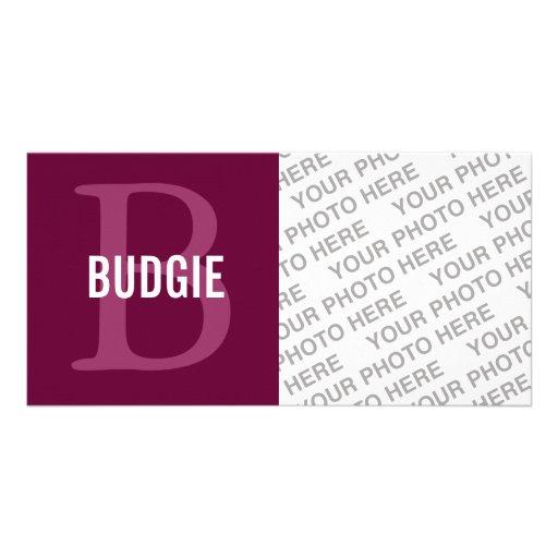 Monograma del pájaro de Budgie Tarjetas Fotograficas Personalizadas