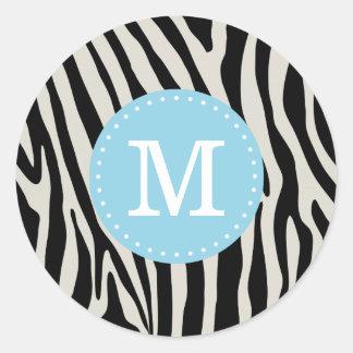 Monograma del personalizado de la raya de la cebra pegatina redonda