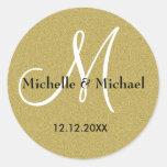 Monograma del personalizado del boda del oro del b etiquetas redondas