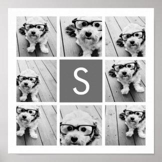 Monograma del personalizado del collage de la foto posters
