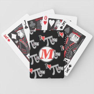 Monograma del personalizar - día del corazón pi de baraja de cartas bicycle