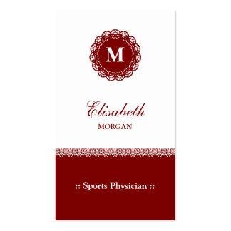 Monograma del rojo del médico de los deportes tarjetas de visita