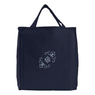 Monograma del tote de la flor de lis bolsa de tela bordada