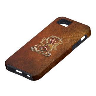 """Monograma del vintage: """"JS"""" [cuero+Oro] iPhone 5 Case-Mate Carcasas"""