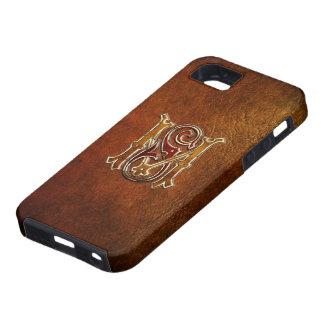 """Monograma del vintage: """"Ms"""" [cuero+Oro] Funda Para iPhone 5 Tough"""