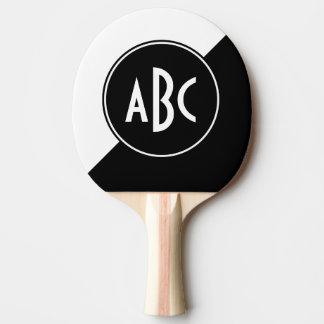Monograma diagonal blanco y negro del bloque del pala de ping pong