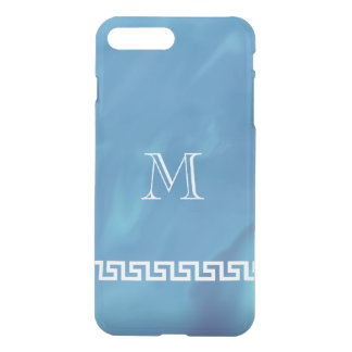 Monograma dominante griego azul brillante funda para iPhone 7 plus