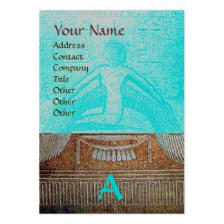 MONOGRAMA EGIPCIO de ISIS, azul blanco marrón Tarjetas De Visita Grandes