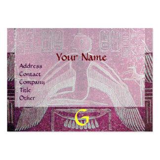 MONOGRAMA EGIPCIO de ISIS, blanco púrpura rosado b Plantilla De Tarjeta De Negocio