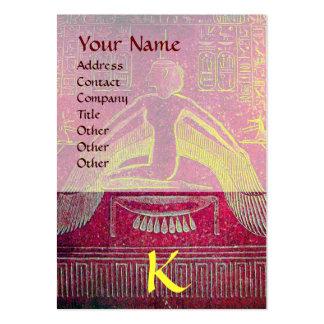 MONOGRAMA EGIPCIO de ISIS, blanco púrpura rosado Plantillas De Tarjetas De Visita