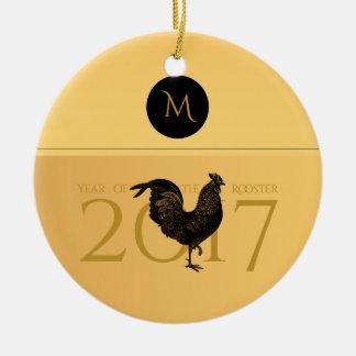 Monograma elegante 2017 del año del gallo del adorno navideño redondo de cerámica