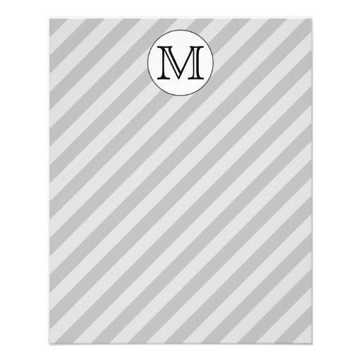 Monograma elegante con las rayas grises. Aduana Tarjetas Publicitarias
