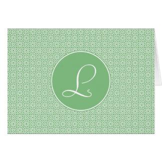 Monograma elegante de arabesco lineal color verde felicitación