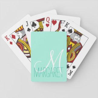 Monograma elegante de encargo de la verde menta barajas de cartas
