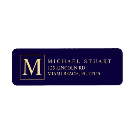 Monograma elegante de los azules marinos y del oro etiqueta de remite