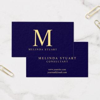 Monograma elegante de los azules marinos y del oro tarjeta de visita
