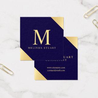 Monograma elegante de los azules marinos y del oro tarjeta de visita cuadrada