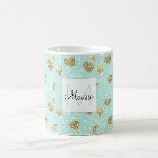 Monograma elegante de los diamantes de la menta y taza de café