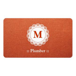 Monograma elegante del cordón del fontanero tarjeta de visita