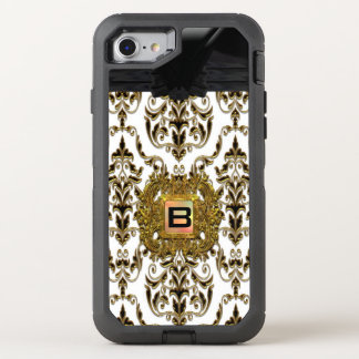 Monograma elegante del damasco femenino de funda OtterBox defender para iPhone 7
