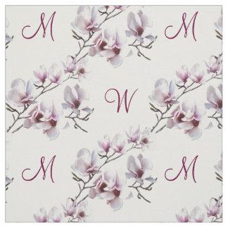 Monograma elegante elegante de la magnolia de la tela