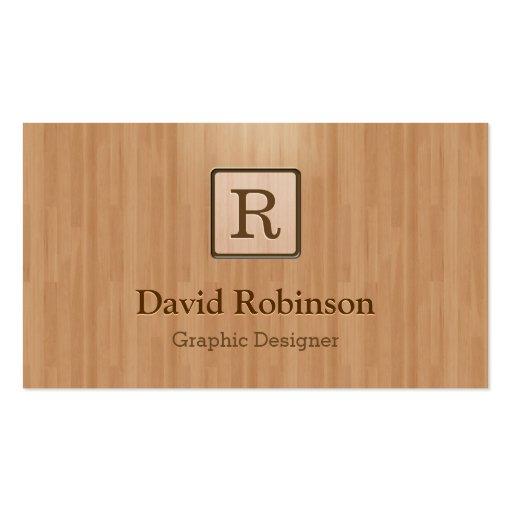 Monograma elegante en la mirada de madera del gran tarjetas de visita