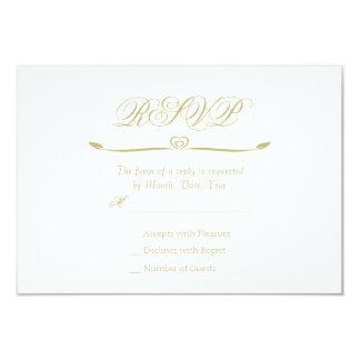Monograma elegante RSVP del blanco y del oro Invitación 8,9 X 12,7 Cm