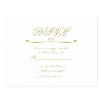 Monograma elegante RSVP del blanco y del oro Postal
