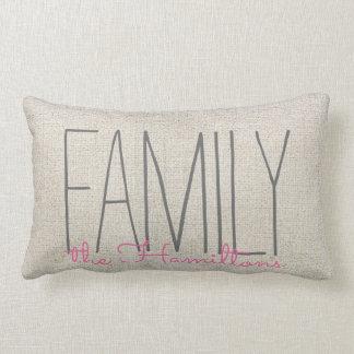 Monograma elegante rústico de la familia EN ROSA Cojín Lumbar