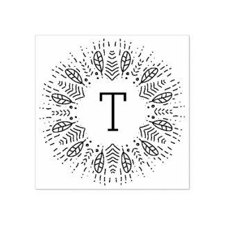 Monograma emplumado sello de caucho