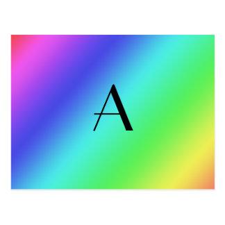 Monograma en colores pastel del arco iris postal