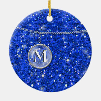 Monograma en el brillo azul de cadena ID145 Adorno Navideño Redondo De Cerámica