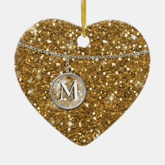Monograma en el brillo de cadena ID145 del oro Adorno Navideño De Cerámica En Forma De Corazón