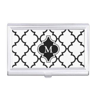 Monograma en el modelo blanco negro de Quatrefoil Caja Para Tarjetas De Visita