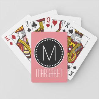 Monograma enmarcado rosa coralino femenino barajas de cartas