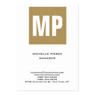 Monograma enorme vertical blanco beige único de tarjetas de visita grandes