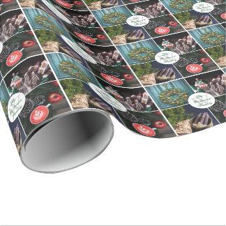 Monograma estacional de las fotos del navidad de papel de regalo