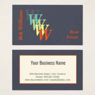 Monograma estilizado de las propiedades tarjeta de visita