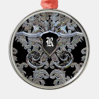Monograma exquisito del Victorian de Waydhill Adorno Navideño Redondo De Metal