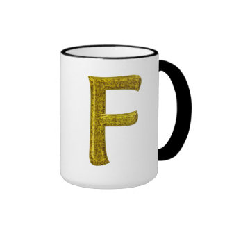 Monograma F del brillo del oro Taza De Dos Colores