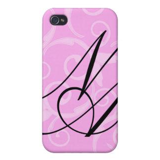 - Monograma femenino del remolino iPhone 4 Cárcasas