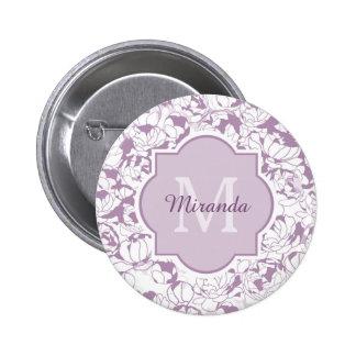 Monograma femenino floral púrpura moderno con chapa redonda 5 cm